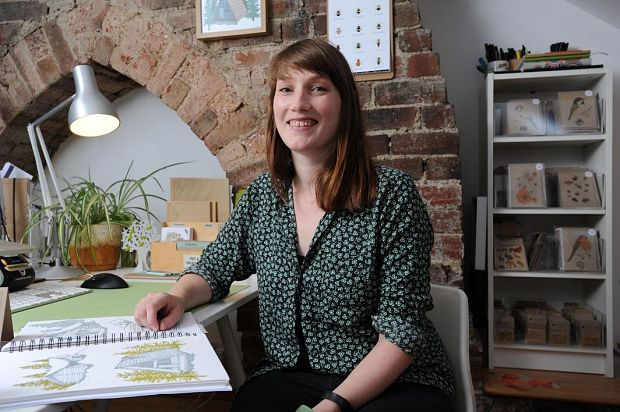 Kate Broughton, 32, who began her own craft-making business using online platform Etsy, in her studio at home in Otley, West Yorkshire.